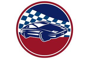 Sports Car Racing Chequered Flag Cir