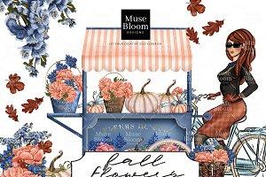 Fall Flowers Cart Pumpkin Bike Girl