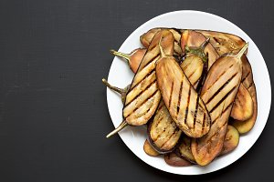Top view, grilled eggplant
