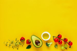 Superfood on yellow background