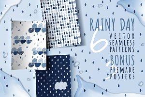 Rainy day, 6 seamless patterns
