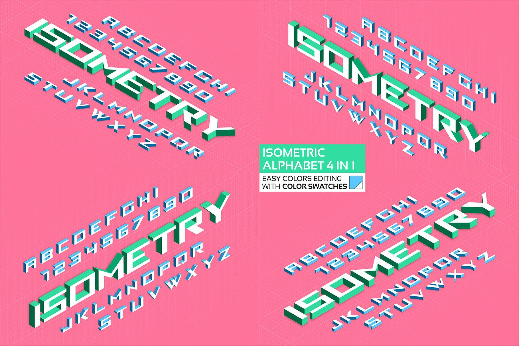 Isometric alphabet 4 in 1. ~ Display Fonts ~ Creative Market