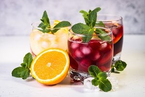 Sangria set alcohol iced drink.