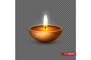 Vector Diwali diya - oil lamp .