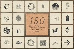 150 Hand Drawn Elements -Nature II-