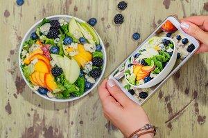 Summer peach blueberry salad