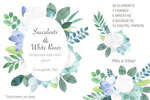 Succulents & White Roses Clip Art