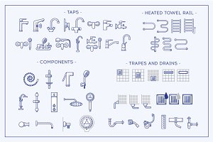 Big icons set o theme of plumbing.