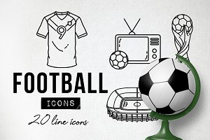 20 Football Soccer Icons World Cup