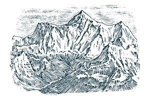 Mountains peaks, vintage