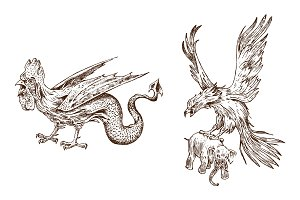 Mythical Basilisk and antique
