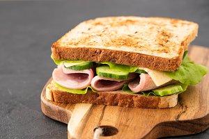 Close-up photo of a club sandwich