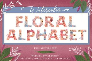 Floral Watercolor Alphabet Initials