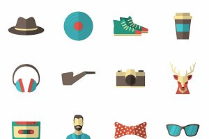 Hipster accessories icon flat set