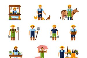 Farmers agriculture icons set