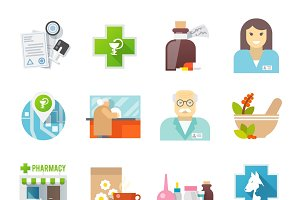 Pharmacy flat icons set