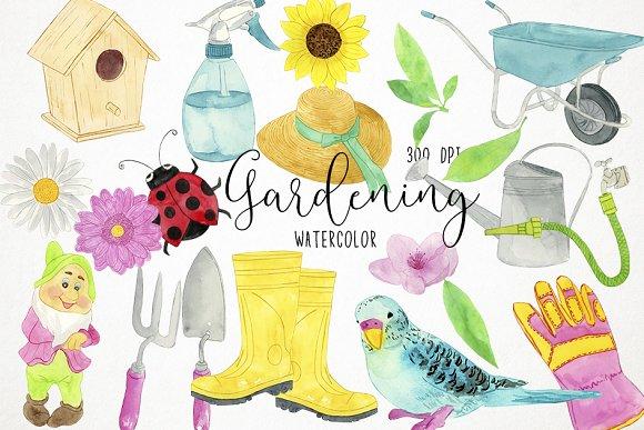 Watercolor Gardening Clipart