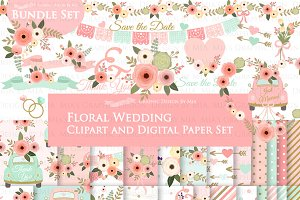 Floral Wedding, Pink Flower set