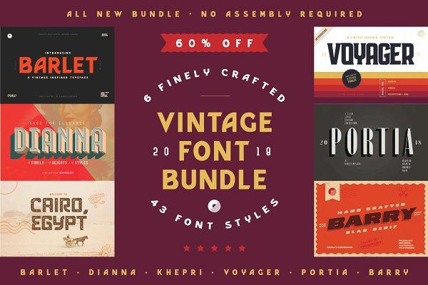 Sans Serif Fonts: ochaya designs - Vintage Font Bundle   60% off Sale!