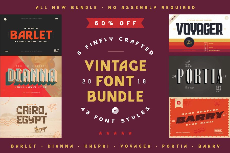 Vintage Font Bundle   60% off Sale!