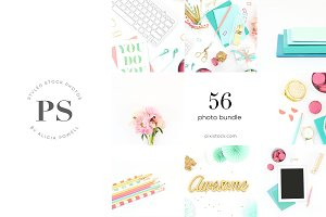58 Photos - Aqua, Pink Stock Bundle