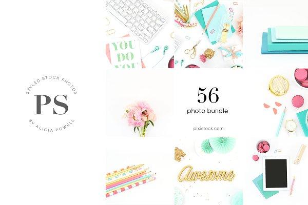 58 Photos - Aqua, Pink Stock Bundle