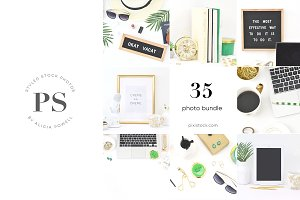 35 Photos Green Office Stock Bundle