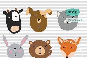 Pet faces svg set