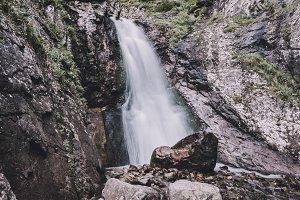 Waterfall in Gorge of Caucasus