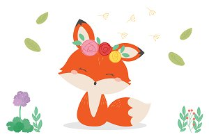 Cute fox in the wild illustration.