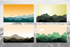 4 Morning Evening Mountain Landscape