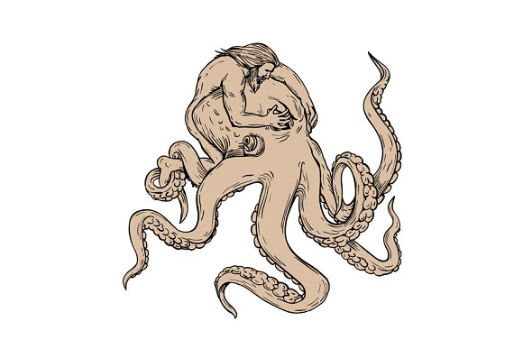Hercules Fighting Giant Octopus Draw Illustrations Creative Market