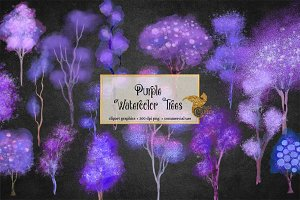 Purple Watercolor Trees Clipart