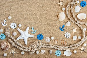 Seashells and sea decorations with r
