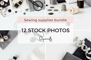 Sewing supplies stock photos bundle