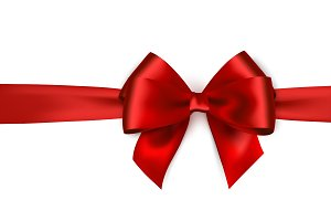 Shiny red satin ribbon