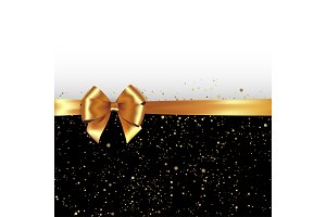 Gold silk bow and ribbon