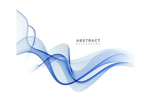 Abstract vector blue wavy