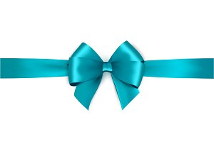 Vector blue bow and ribbon.