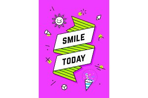 Smile Today. Vintage ribbon banner