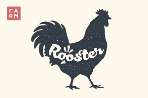 Rooster. Lettering, typography