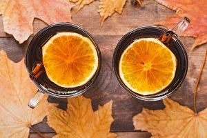 Two glass cups with mulled wine