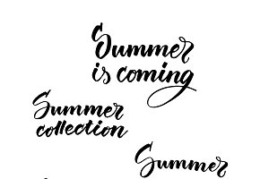 Typographic Summer Inscriptions Set
