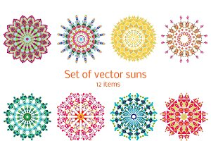 Colorful Ornamental Summer Suns Set