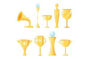 Awards Prizes Golden Icons Vector
