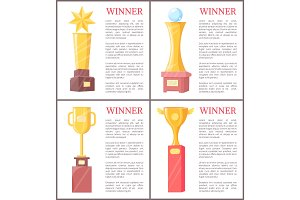 Golden Awards for Winner Set Vector
