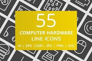 55 Computer & Hardware Line Icons