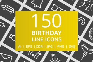 150 Birthday Line Inverted Icons