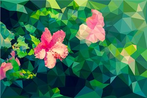 Low poly of hibiscus flower