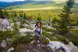 stylish woman hiking.